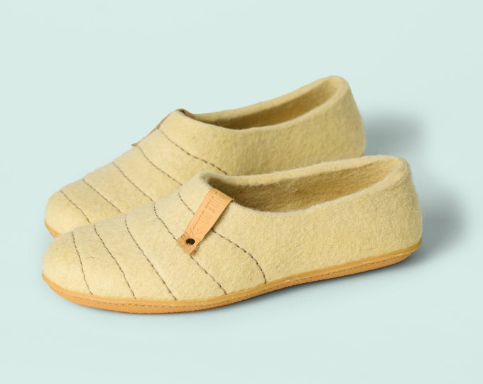CreamYellow woolen clogs Slippers for women with sturdy stitching on surface