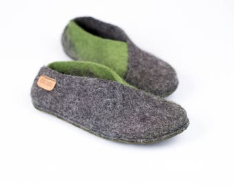 Ready To Ship Grey Olive Envelope Slippers, Cozy Home Shoes, Handmade Felted Shoes Felt Slippers Womans Slippers Spring Shoes Gift for Her