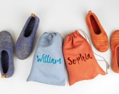 Set of Natural Wool Slippers for Couple in personalised linen bag, weddings gift idea