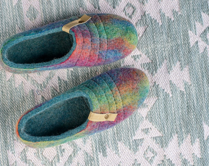 NEW felted natural wool slippers COCOON Easy slip on Turquoise Rainbow with sturdy stitching on surface