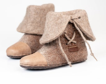 36adf1b53b1 New BureBure Warm Beige Brown wool ankle boots slippers with laces