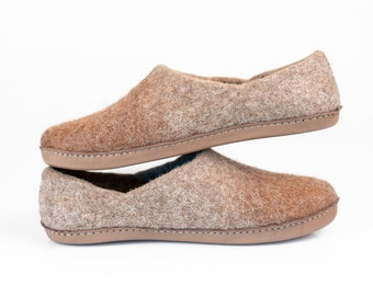 551d8a07201 Men s comfort Slippers Natural Wool Alpaca Clogs House Shoes Indoor Outdoor Non  Slip Leather Rubber Sole