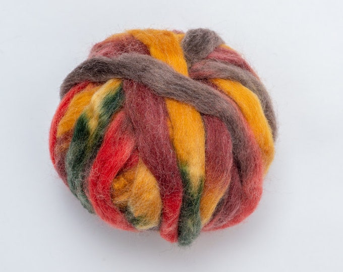 Multicolor Wool for Decorating, Wool Tops Autumn for Wet Felting, Nuno Felting, Needle Felting or Spinning