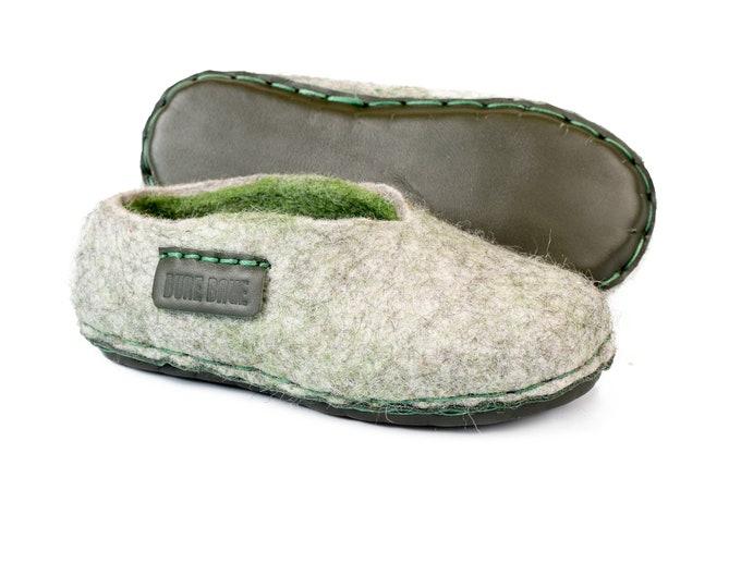 3700cdc9663d Non slip toddler slippers, Grey Green wool slippers for kids, Children home  slippers,