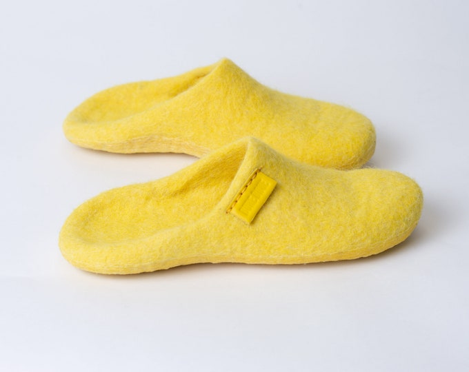 Backless Wool Slippers, Felted Mules, Felted Wool Slip On Slippers, Bright Yellow