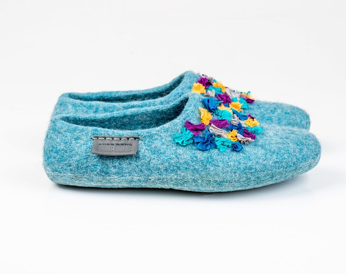 NEW Women wool and alpaca slippers clogs Blue hand stitched with Indian sari silk ribbons