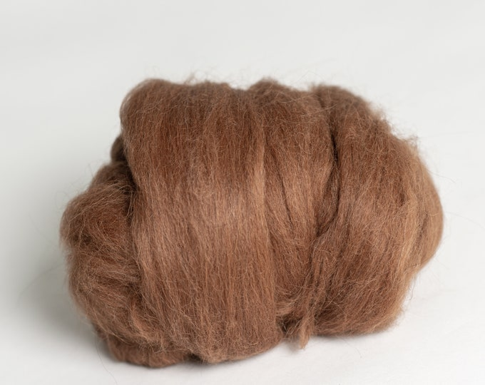 Natural Undyed Brown Alpaca Wool Tops for Wet Felting, Felt docoration, Nuno Felting, Needle Felting or Spinning