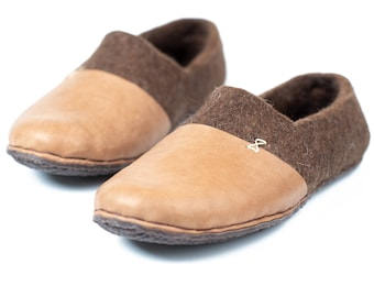 232a71d7d7a2 Dark Brown wool clogs slippers for women with leather toe caps