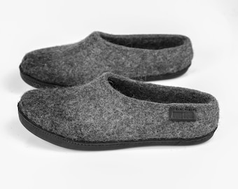 ea94255bcc47 Easy slip-on style wool clogs for men with Dark grey alpaca ombre Handmade  Warm