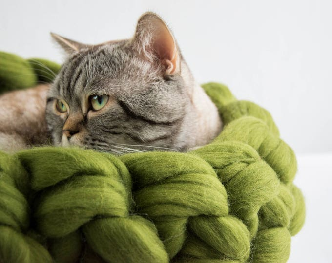Handmade brown cat cave from felted wool decorated with sheep curls