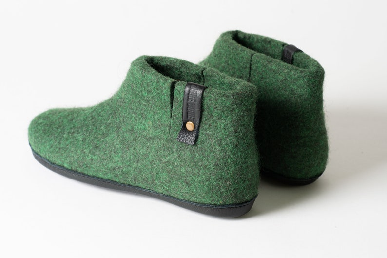 Dark Green Mens slippers ideal gift for Dad WOOBOOT felted wool ankle slippers boots with pull loop and side cut