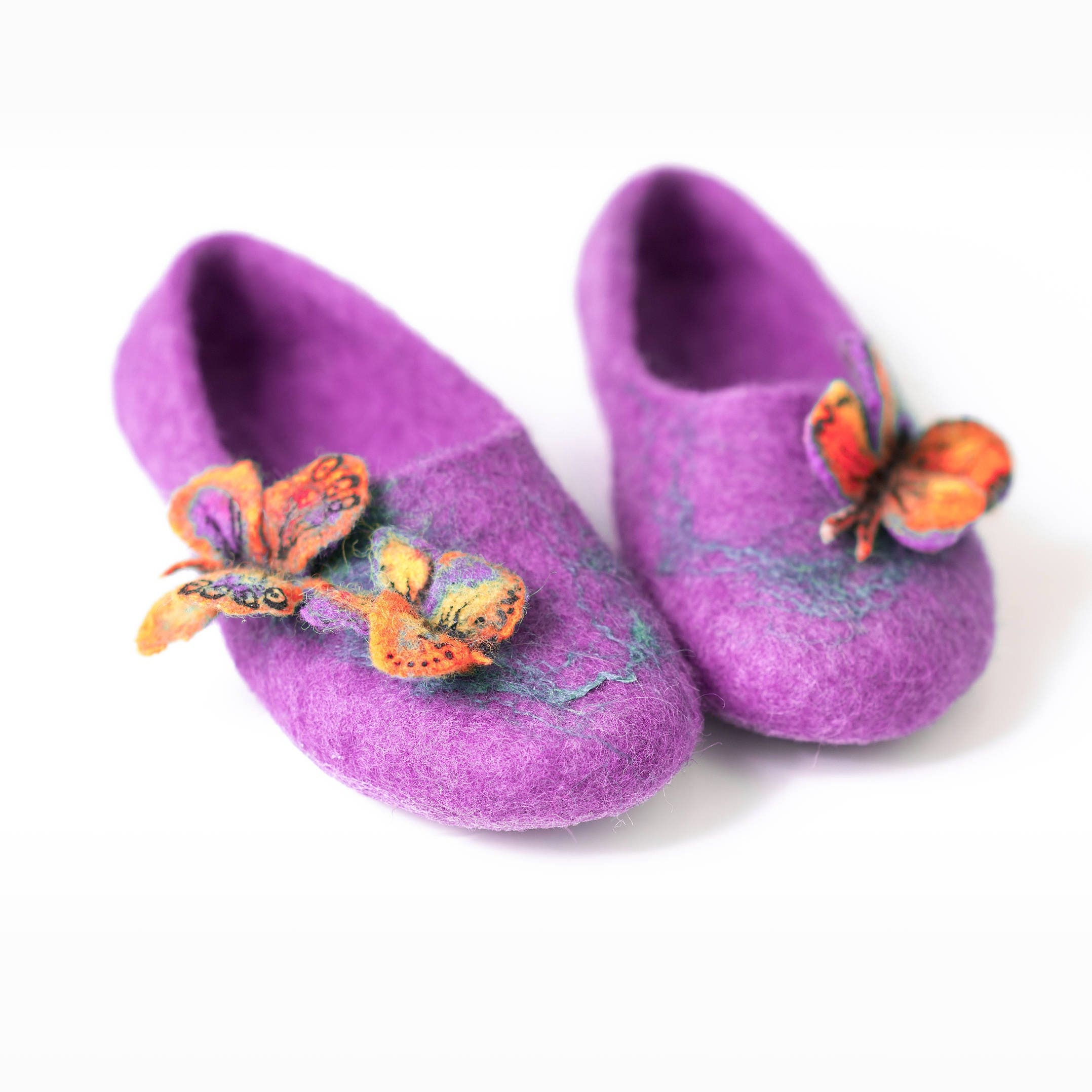 fc6752fc04f21 Purple fairy girls slippers with butterflies decoration, Handmade kids ...