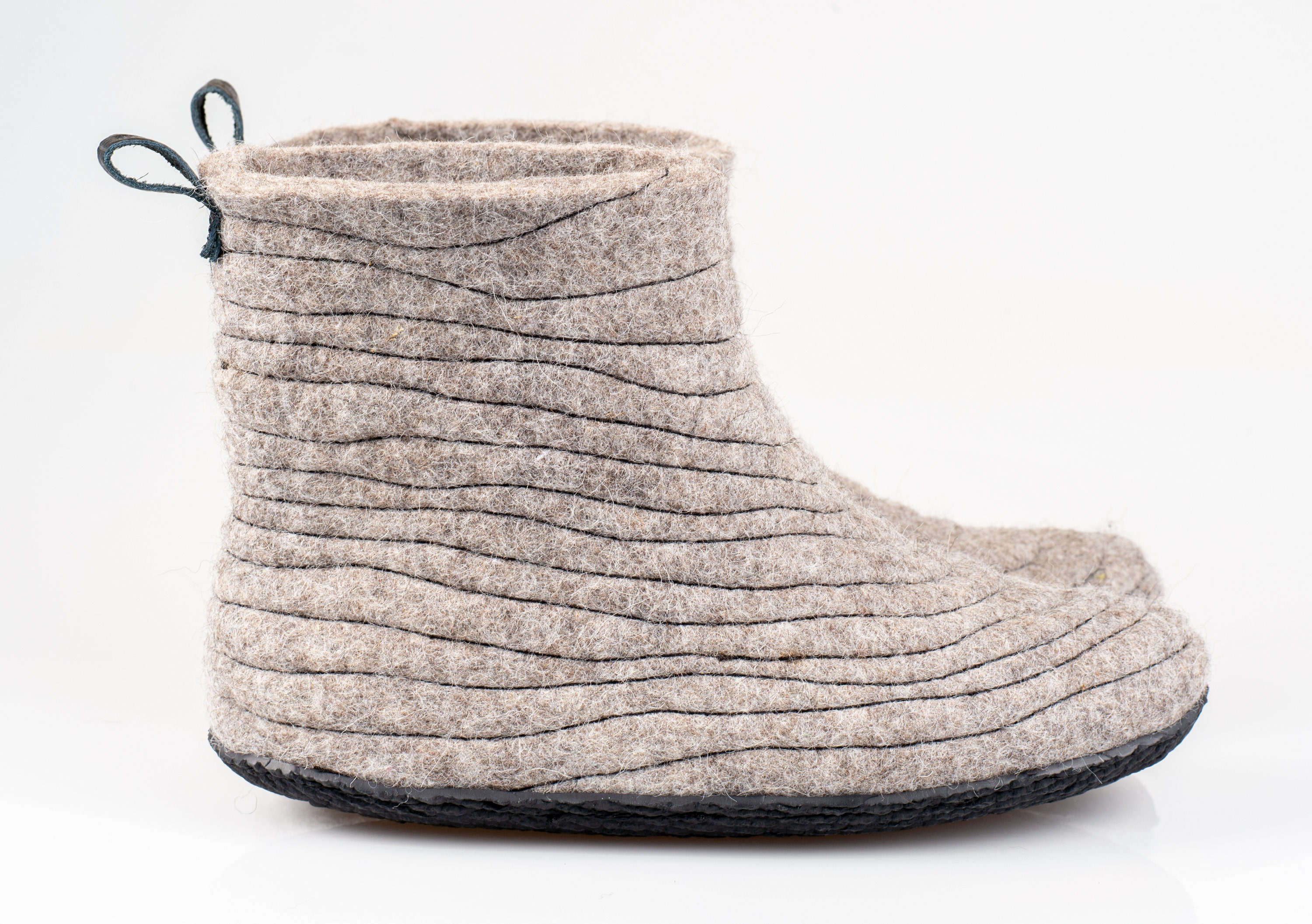 52fb88fea830b NEW Warm grey rustic unisex slippers boots with sturdy stitching on ...