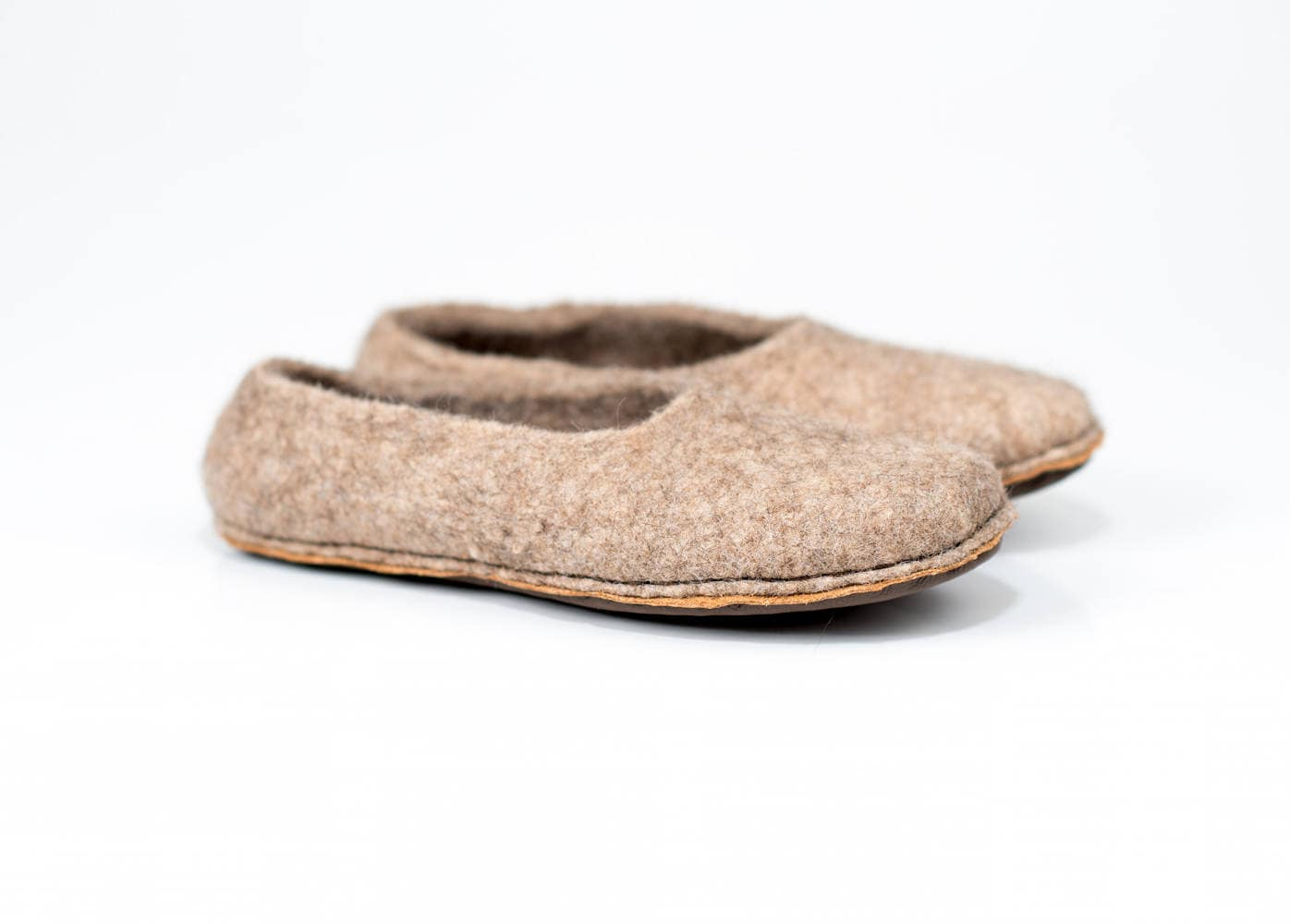 beige women slippers with non slip cork and leather soles felted