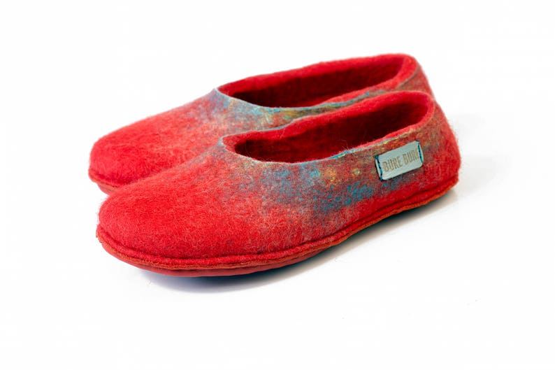 Coral Red Felted Shoes for Home Warm Woolen Slippers for Her image 0
