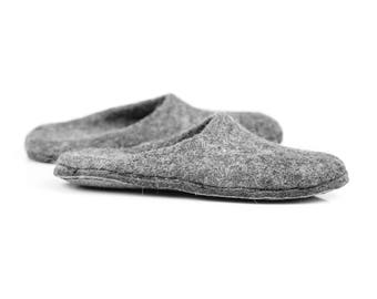 Felted mules slippers, Men wool mules, Closed toe slippers for him, Bedroom slippers for men, BureBure slip on slippers,  grey slippers