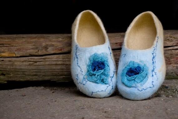 Chaussures bleu de laine maison fait jaune chaussons chaussons femmes laine Feutre que w6OdxfBO
