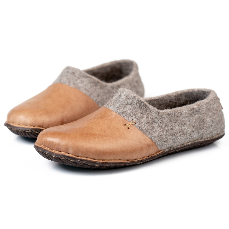 7014d82d6f02 Rustic felted wool slippers for men with leather toe caps