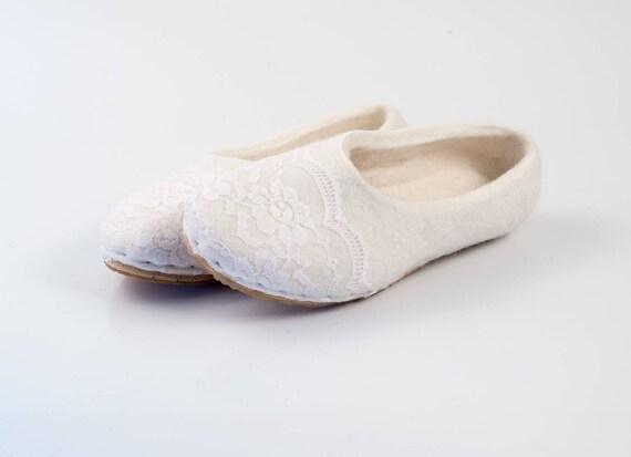 pantoufles Mariée ballerines chaussons mariage laine en Ivoire 1wxP0w
