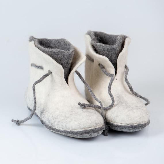 et avec bottines laine 2 lacets chaussons Chaud gris blanc couches pi qzO0q