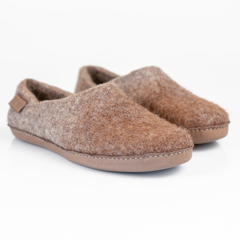 818548a419d32 Men's comfort Slippers Natural Wool Alpaca Clogs House Shoes Indoor ...