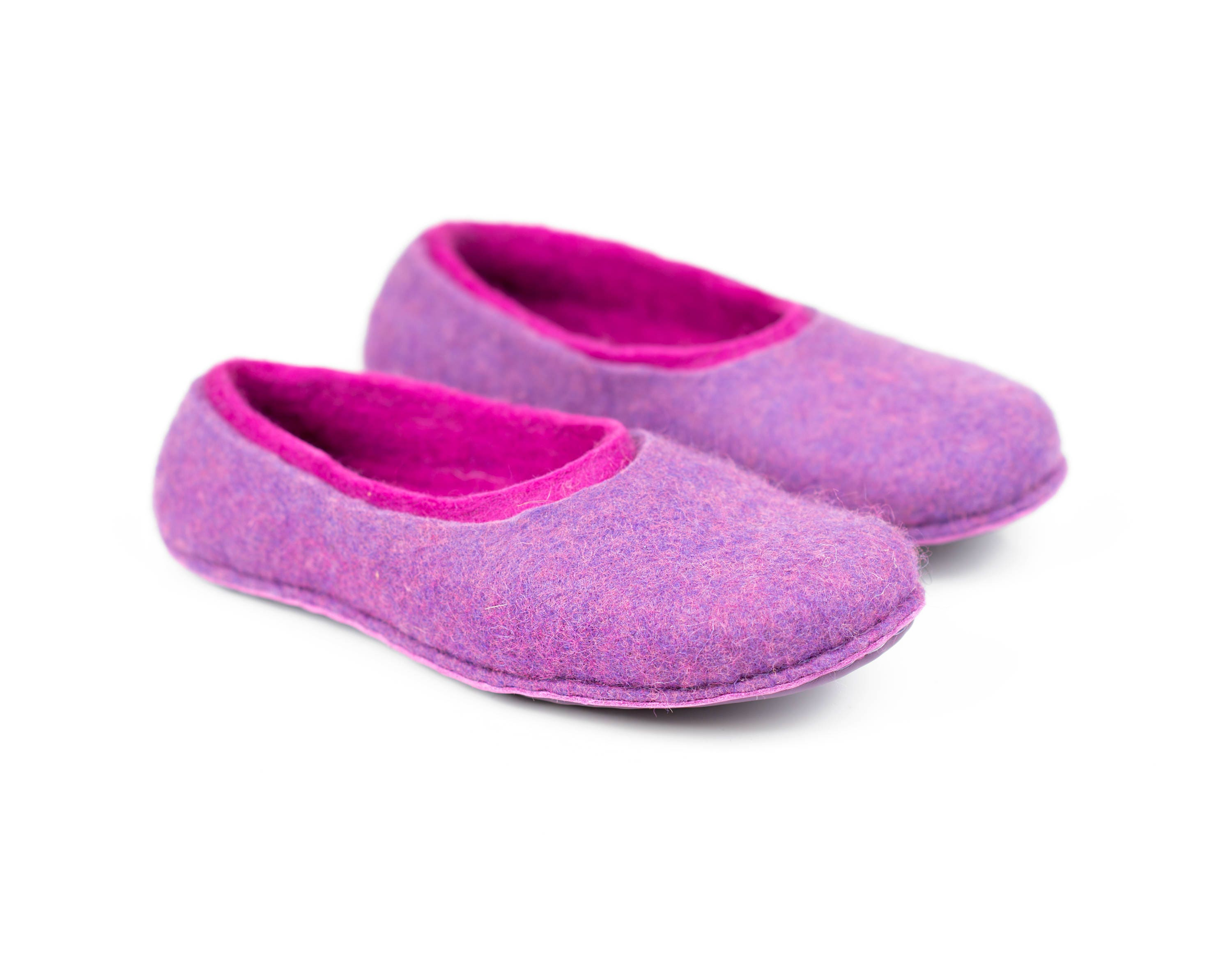 4169419bc276a 2-layered women wool slippers handmade from felted wool, Lavender ...