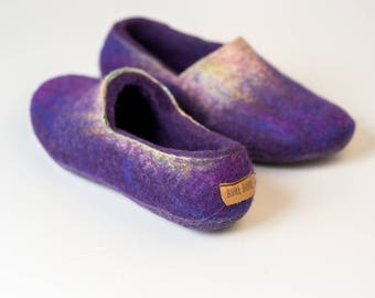Ready to Ship Ultra violet felted wool slippers for women with leather soles, Warm home shoes, Women slippers, Hygge gift, Housewarming gift