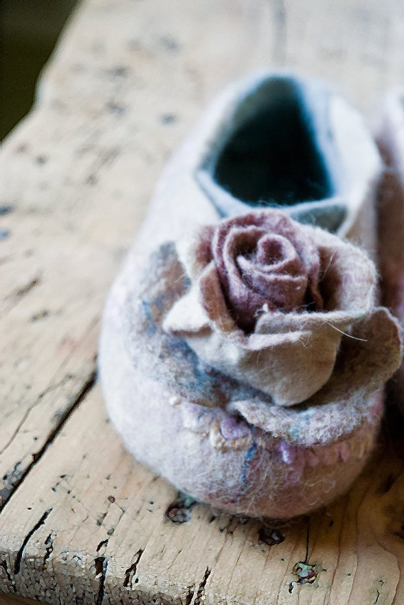 wool wool natural flower footwear slippers gift Pink Traditional set Bridesmaid shoes bridal felted Bridesmaid Flat valenki Handmade and CwvqntxxYz
