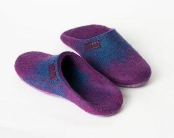 Backless Wool Slippers, Felted Mules, BureBure Felted Wool Slip On Slippers - Simone