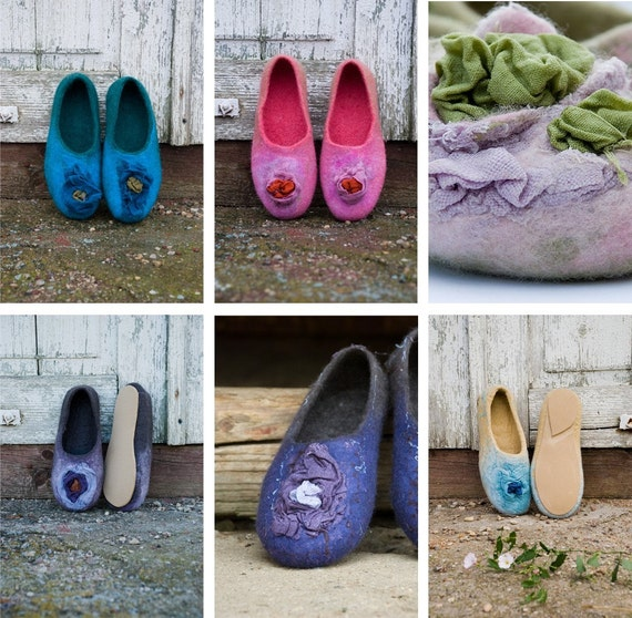 flats with Woolen Felted wool boiled slippers clogs wool flowers Felted home Felted Women slippers flax shoes shoes Blue wool clogs SqHpA