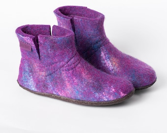 Galaxy WOOBOOT warm wool boots slippers with sturdy stitching - felted wool slippers