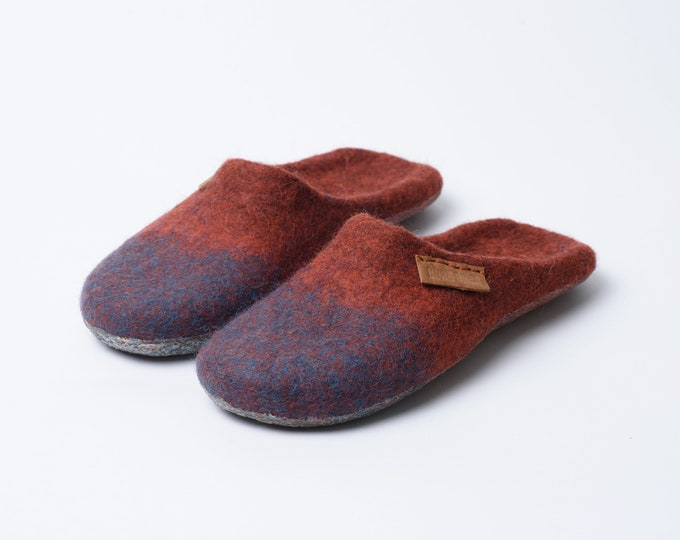 Backless Wool Slippers, Felted Mules, Felted Wool Slip On Slippers, NEW Cinnamon Turquoise Blend
