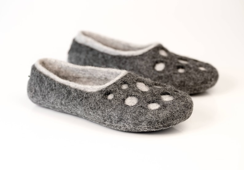 5c3522deb3cd7 Womens wool slippers Moon Craters, Warm boiled wool slippers, wool shoes,  handmade slippers, Warm Birthday gift, Grey slippers Felted shoes
