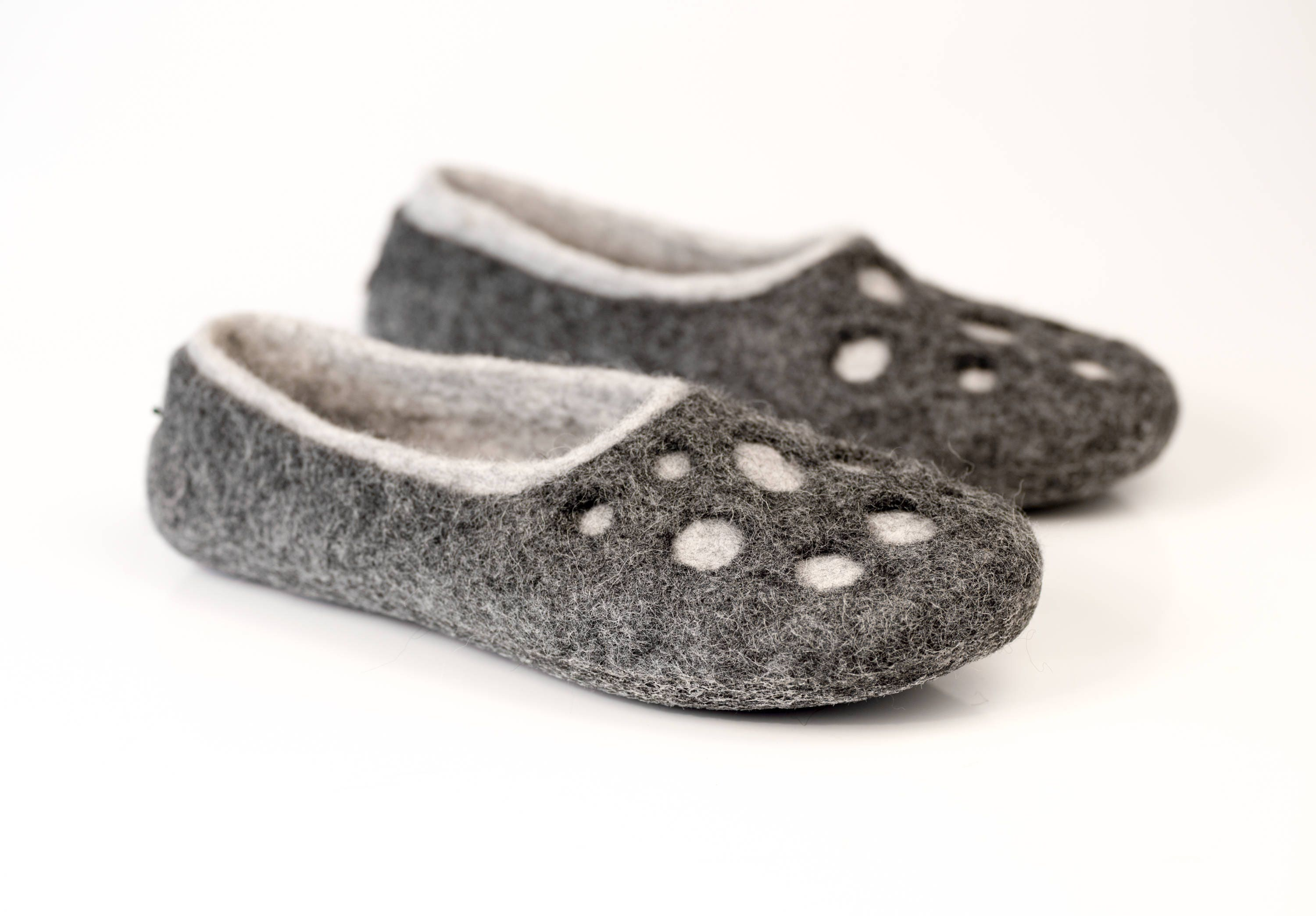 2b97d8a2979d5 Womens wool slippers Moon Craters, Warm boiled wool slippers, wool shoes,  handmade slippers, Warm Birthday gift, Grey slippers Felted shoes