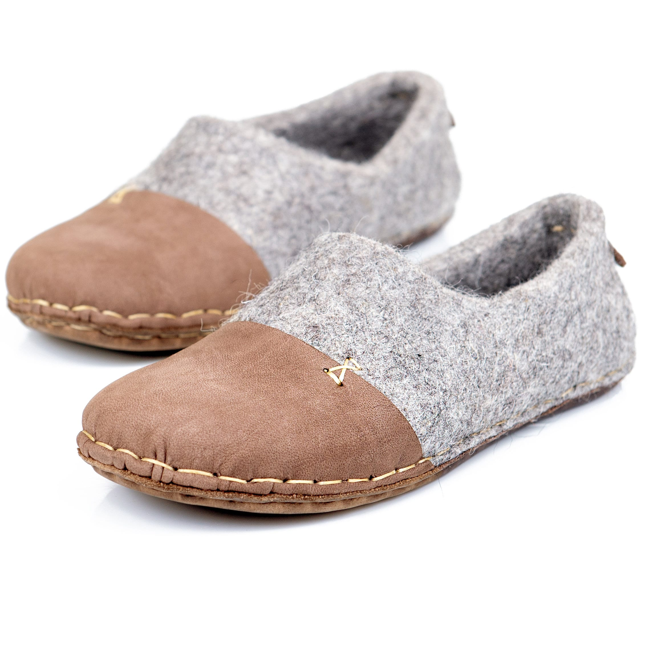 7d625c30c8f7e Rustic felted wool slippers for men with leather toe caps, Handmade in ...