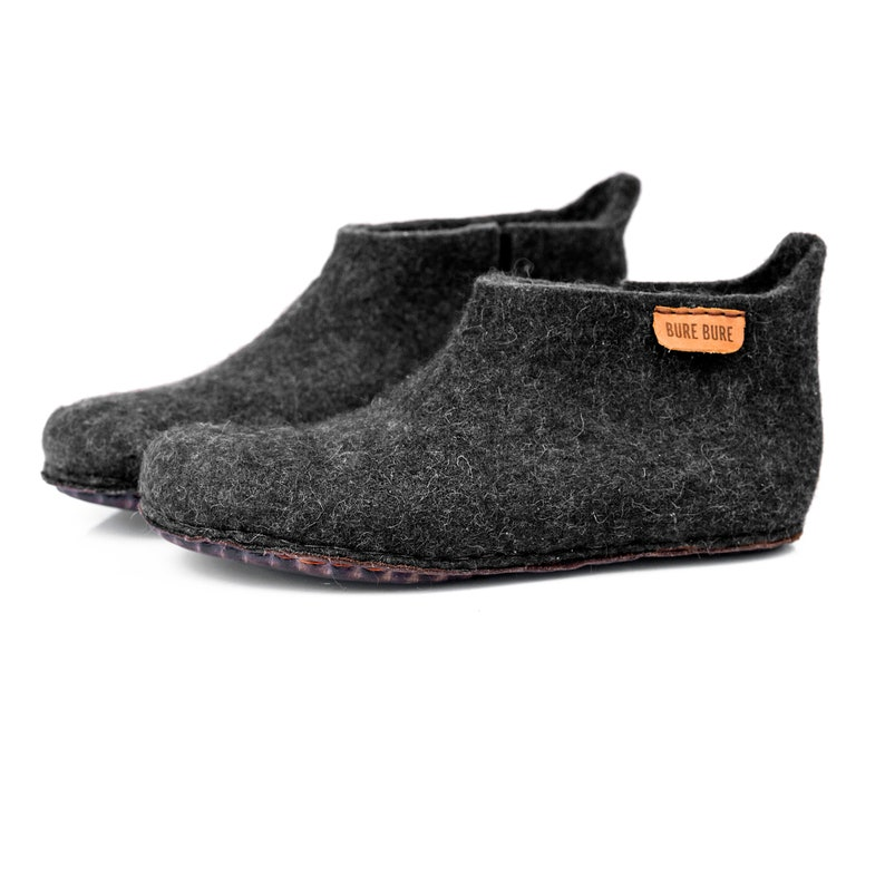 da408b5989238 Hand felted wool boots slippers for men, Natural black cozy ankle booties  with short cut on side