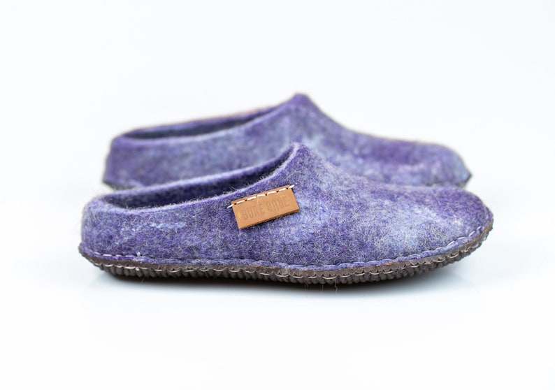 65c2e57abbe34 BureBure Purple Blue Warm Natural Wool Clogs Slippers for Women Birthday  gift for her