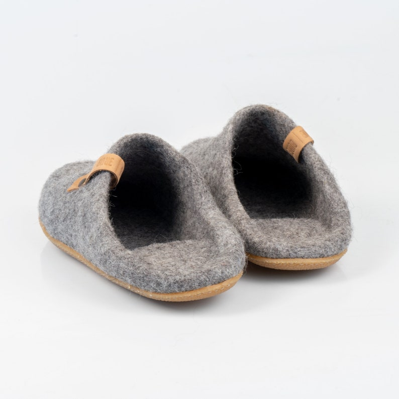 c563c27f601cd BureBure easy slip on slide slippers switch into low back clogs natural  felted wool house shoes