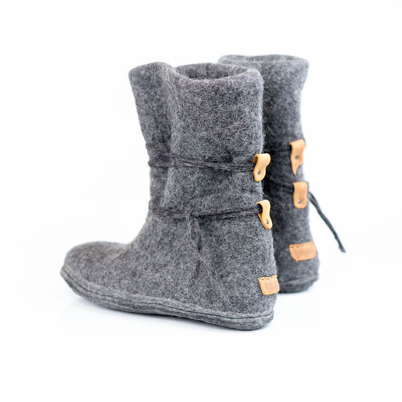 d840431777c Warm gray boots with laces Women felted wool boots Felted