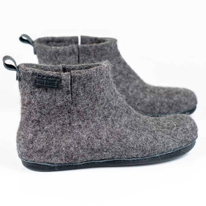 0ea55866b46eb WOOBOOT warm wool ankle boots slippers with leather pull loop & short side  cut, Rustic gift for men in personalised linen bag