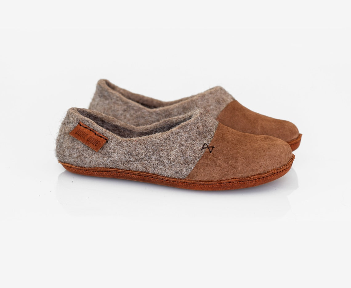 Dark Brown Wool Clogs Slippers For Women With Leather Toe - Big Sale AGdH1