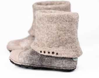Ready to Ship Grey ankle boots with Grey natural Edge leather caps, Made by hands, Felted wool slippers, Winter shoes, Home shoes,  Valenki