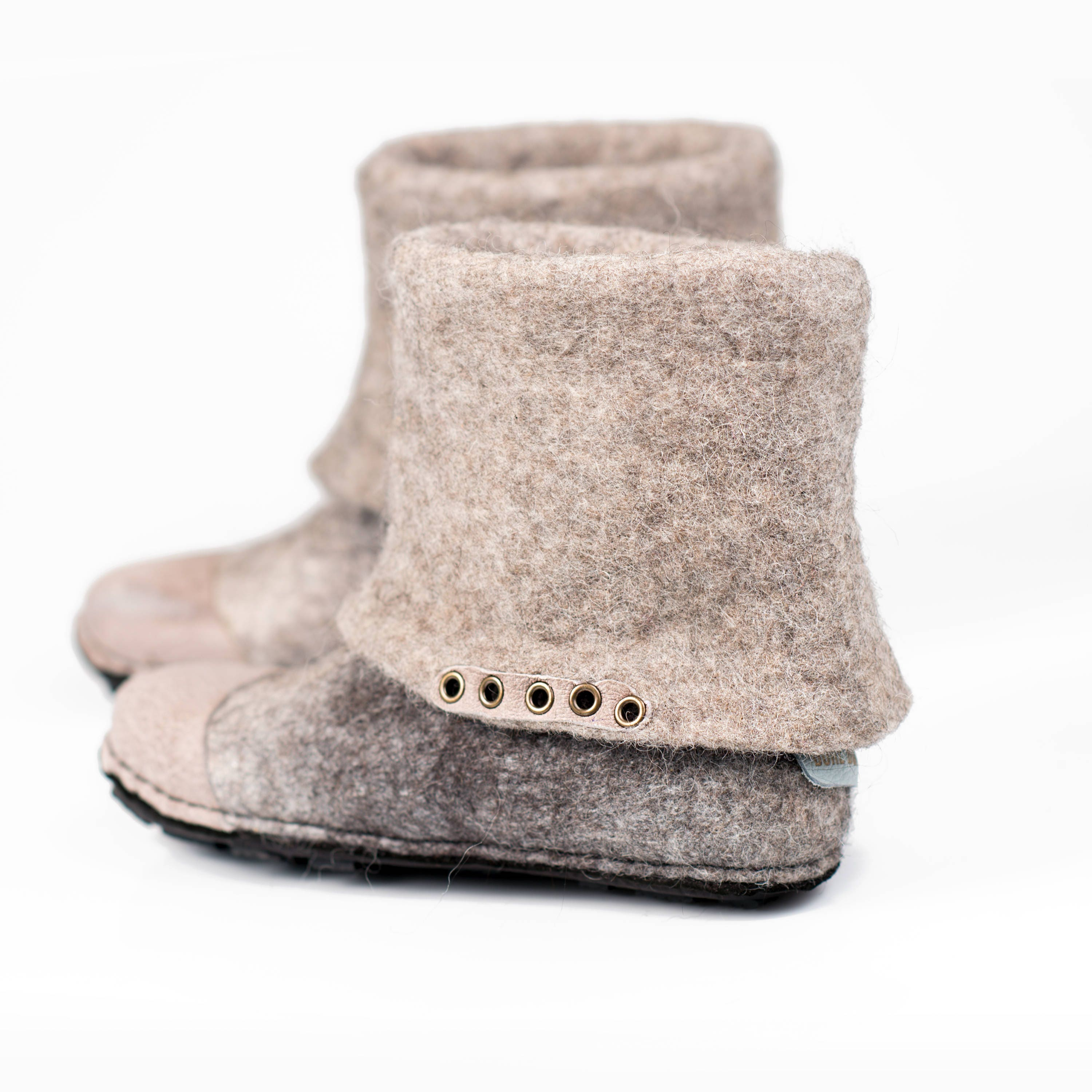 66c9635551acd Flat ankle boots from sheep and alpaca wool in white n grey, Made by ...