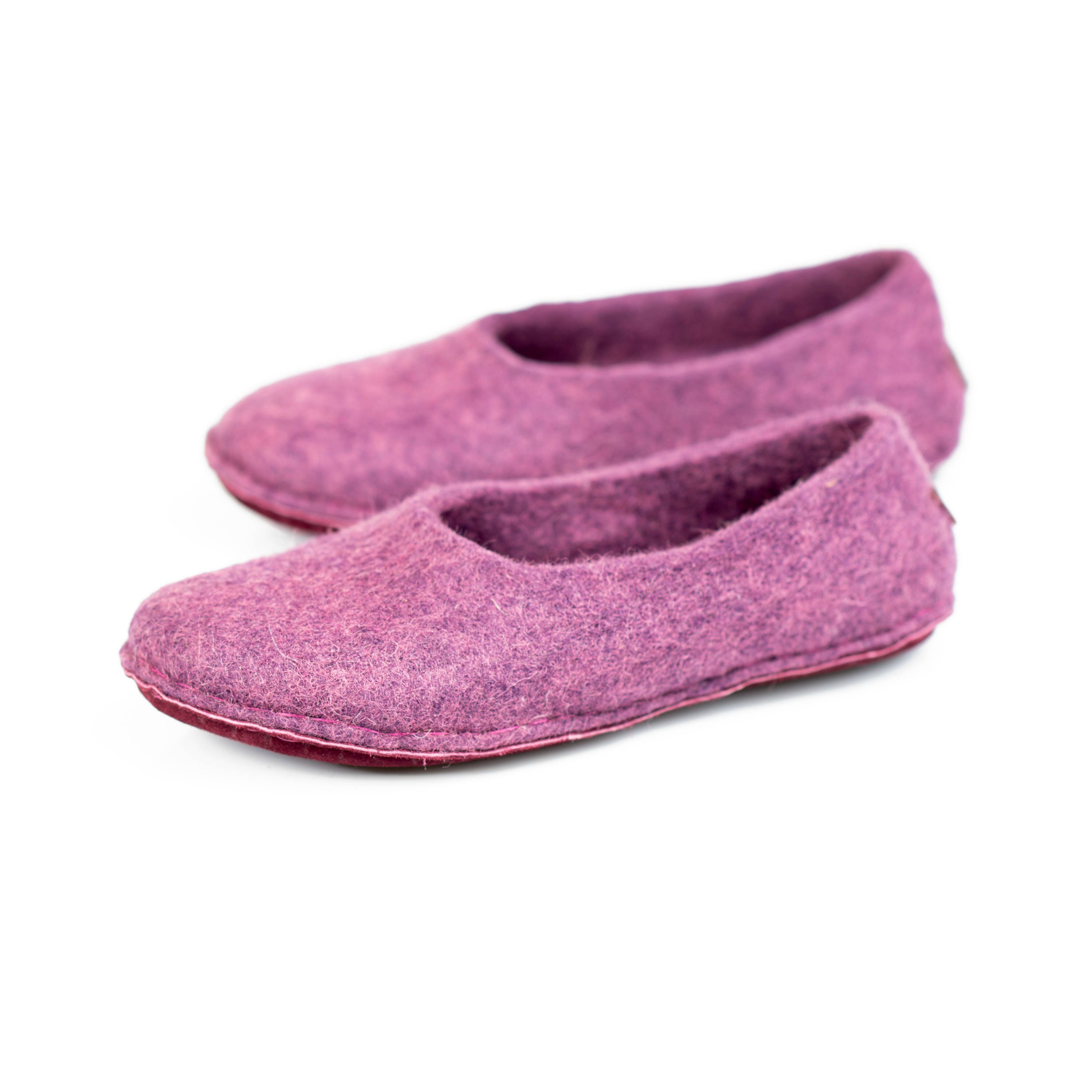 Hygge all handmade ultra violet felted slippers for women - Ladies bedroom slippers with heel ...