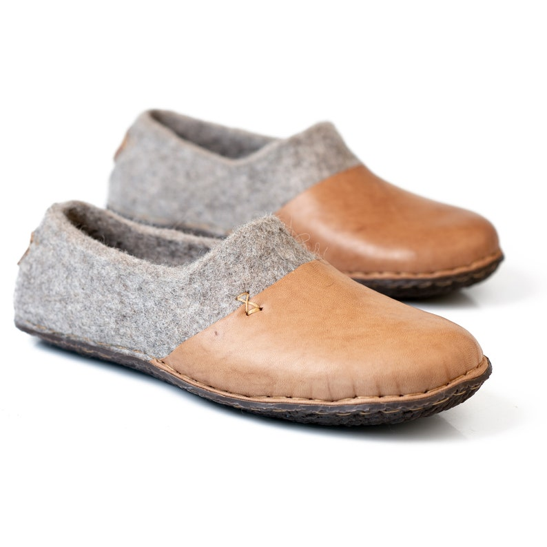 090cbfc829f4 Beige felted wool clogs slippers for women with leather toe