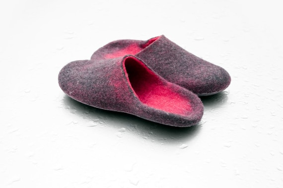 mules slip slippers women slippers ombre slippers Hygge women Slip wool felted slides on for slide heel alpaca open Hand in Warm slippers 5pwBqW