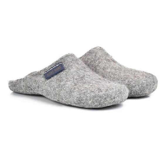 Closed Vegan felted Women slippers toe mules slippers grey slippers wool on for mules Slip Bedroom for woman slippers her Grey slippers X4UBwqw