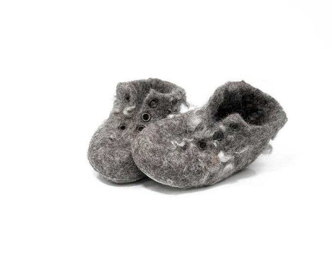 Felted Wool Baby Booties, Handmade Baby Sneakers, Gift for New Mom, Wool Walker Booties