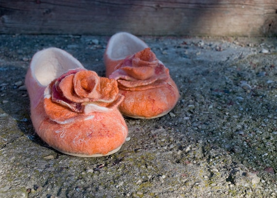 Handmade Women for slippers in Slippers BureBure slippers Bachelorette Women Bridal Brooches with Europe Felted Alpaca home Wool Rose party nxzxwX1q