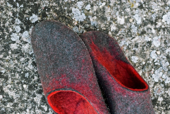 boyfriend slippers Felted for Gift ombre Felted Red slides men for slippers husband on wool Open heel men for Slip slippers mules 8w1TqO